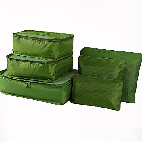 FVIWSJ 6 Set Cubos de Embalaje de Viaje Transpirable Impermeable Bolsas Organizador para Equipaje de Viaje, Bolsas de Almacenamiento de Viaje Ligeras,Verde