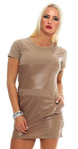 Fashion4Young 5678 Damen Kurzarm Minikleid im eleganten Etui-Stil Shirt-Kleid (36/38, beige)