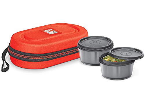 Milton Nutri Lunch Box with Microwavable Inner Steel (2 Container) Red