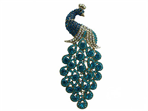 TTjewelry Vintage Peacock Bird Rhinestone Crystal Brooch Pin Art-Deco Style Bird Pendant