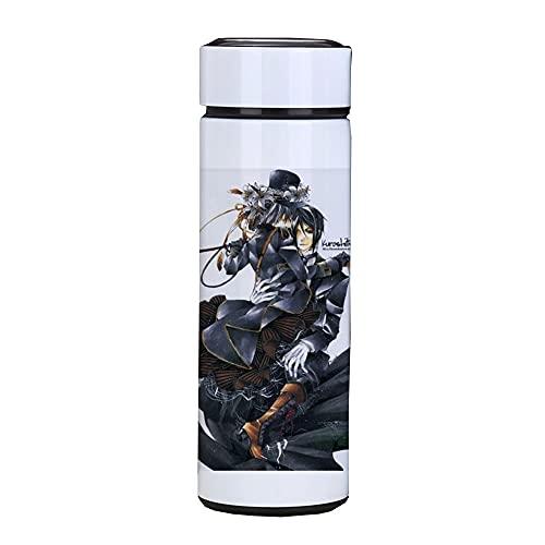 Edelstahl Trinkflasche , Isolierte Wasserflasche, Isolierflasche mit rutschfester Silikonmanschette, mobiler Kaffeebecher Black Butler,500ml