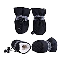 TTCI-RR 犬のブーツ 小猫犬子犬犬ソックスブーツのために4本防水冬のペットの犬の靴滑り止め雨雪のブーツ履物厚く暖かいです 犬用靴 (Color : Black, Size : XS)