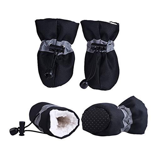 3°Amy Hundeschuhe 4pcs Wasserdichter Winter-Hund Schuhe Anti-Rutsch-Regen-Schnee-Aufladungen Schuhe Starke Warme for Kleine Katzen Hunde-Welpen-Hundesocken Booties #a (Color : Black, Size : S)