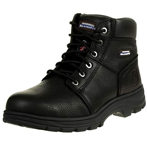 Skechers Workshire Sicherheitsschuhe 77009EC Schwarz BLK Stiefel, Größe:42, Farbe:Schwarz