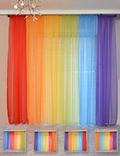 "Yancorp 6 Panels Sheer Curtains Rainbow 240"" Wide Window Decoration Voile Drapes 84 Inches Kids Girls Party Favor Christmas Classroom Decor Kitchen Bedroom Backdrop Red Orange Yellow Green Blue Purple"