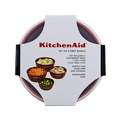 KitchenAid Classic Prep Bowls, Set of 4, Empire Red