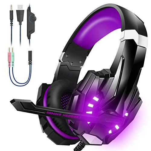 Bengoo Stereo Gaming Headset for PS4, PC, Xbox One Controller, Noise Cancelling Over Ear Headphones with Mic, LED Light, Bass Surround, Soft Memory Purple