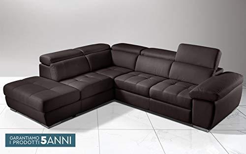 Dafne Italian Design Sofá cama esquinero de 3 plazas con chaise longue a la izquierda. Piel sintética marrón (cm. 285 x 245 x 97 cm.