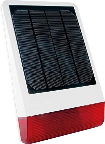SCHWAIGER -ZHS14- Außensirene/ Sirene solarbetrieben/ Alarmsirene mit blinkenden LEDs/ Alarmanlage/ Z-Wave/ 105dBm/ Smart Home/ Steuerung per App/ Sprachsteuerung mit Alexa, Google