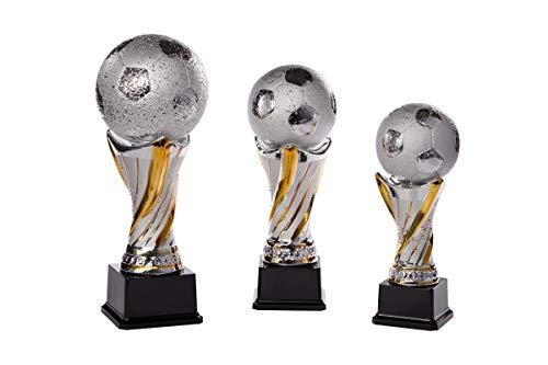 Henecka Fussball-Pokal, Keramik-Figur Fussball, Silber mit Gold, mit Wunschgravur, Größe 27,5 cm