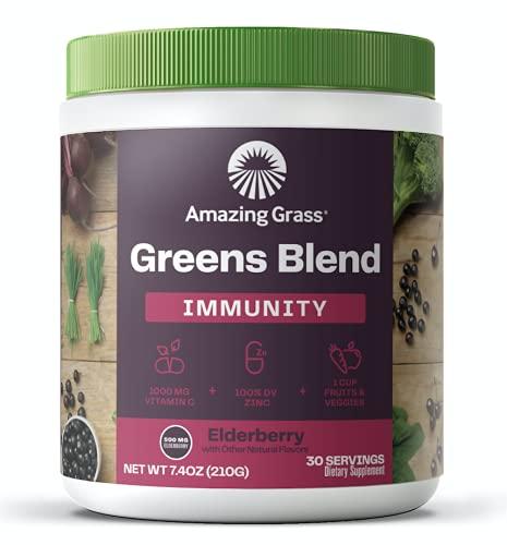 Amazing Grass Greens Blend Antioxidant: Super Greens Powder with Spirulina and Probiotics, Elderberry, 30 Servings