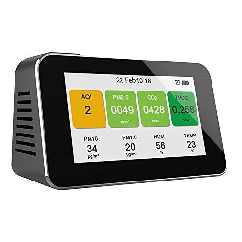 TTLIFE Monitor de calidad del aire Sensor independiente 12 en 1 TVOC / PM2.5 / PM10 / HCHO/Analizador de partículas de polvo para interiores o exteriores para despertador