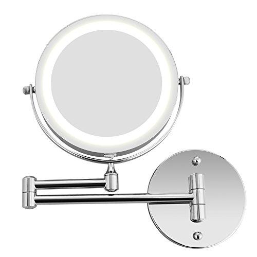 BATHWA Wandmontage Zweiseitig Beleuchteter Kosmetikspiegel, 360° Horizontal Schwenkbar und Vertikal, Metall Verchromt 5-Fache Lupe + Gewöhnlicher Planspiegel