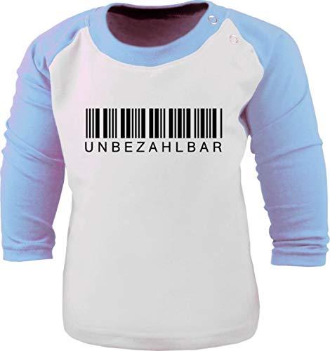 Baby/Kinder Baseball Langarm T-Shirt (Farbe: Weiss-hellblau) (Gr. 122/128) Unbezahlbar