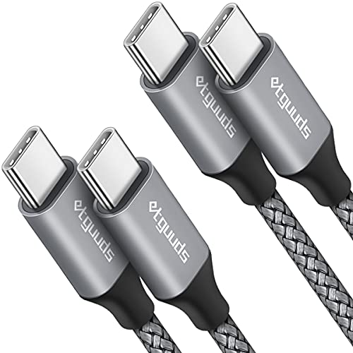 USB C to USB C Cable [3ft, 2-Pack], etguuds 60W/3A Fast Charging USB Type C Charger Cord Compatible with Samsung Galaxy S21/S21+ Ultra 5G, S20/S20+ Ultra 5G, Note 20/20 Ultra, Pixel, Switch & More