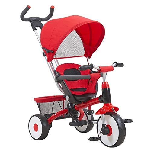 Dreirad, Faltpedal Multifunktions-Dreirad for 3-in-1-Kinder mit Sonnenschutz, Baby-Dreirad for den Außenbereich, 3...
