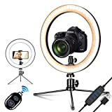 Ring Light with Tripod Stand & Phone Holder,2020 Upgrade 10 Dimmable Brightness,Led Selfie Light Mini Camera Lighting for Live Streaming/Makeup/YouTube Video/Photography