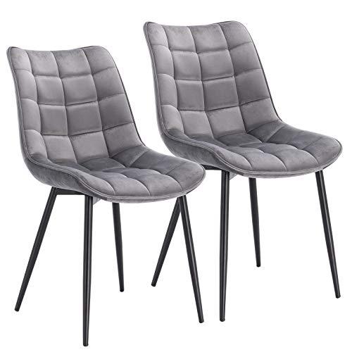 WOLTU® Esszimmerstühle BH142hgr-2 2er Set Küchenstuhl Polsterstuhl Wohnzimmerstuhl Sessel mit Rückenlehne, Sitzfläche aus Samt, Metallbeine, Hellgrau