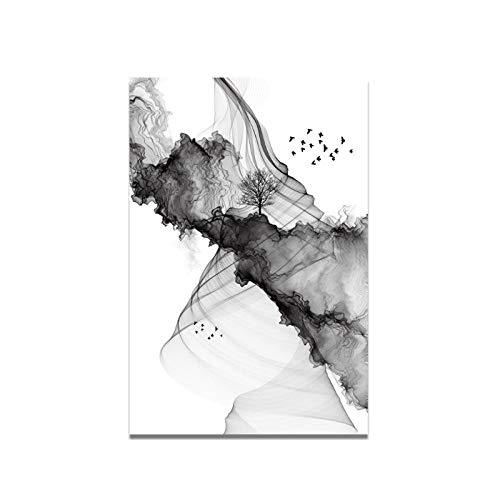 MULMF Boom Vogels verf olieverfschilderij afbeelding poster en afdrukken op canvas muurkunst schilderij voor woonkamer Home Decor- 50X70cm No Frame