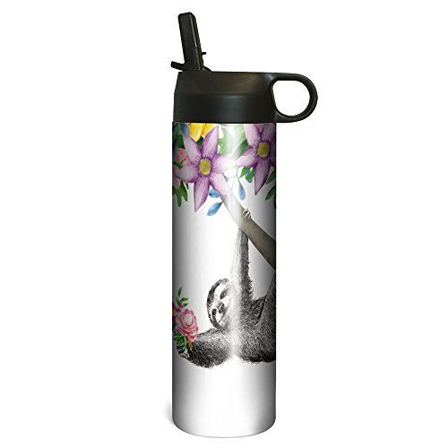Tree-Free Greetings SP67100 Boho Sloth Vacuum-Insulated Stainless Steel Sportiva Tumbler, With Internal Straw, 17 Ounce