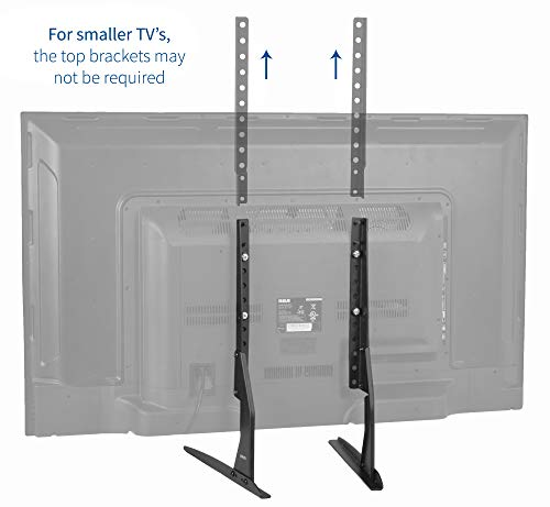 "VIVO Universal LCD Flat Screen TV Table Top VESA Mount Stand Black | Base fits 22"" to 65"" (STAND-TV00Y)"