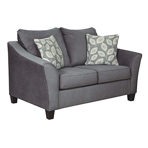 Signature Design by Ashley - Sanzero Modern Loveseat w/ 2 Accent Pillows, Gray -  Ashley Furniture, 9420435