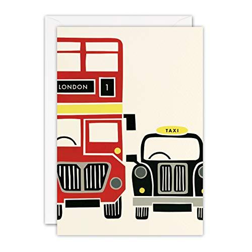 James Ellis - Rode Bus en Taxi London Blank Retro Pers Card - T3392