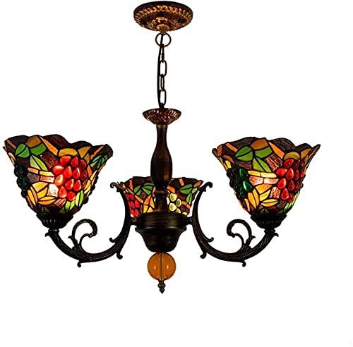 Tiffany Style Multi-Head Chandelier Manchado Manchado Colgante Luz Colgante Luz Luz Sala Dormitorio Dormitorio Decoración Lámpara de Luz Techo