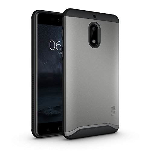 TUDIA Nokia 6 (2017) Case, Slim-Fit Heavy Duty [Merge] Extreme Protection/Rugged but Slim Dual Layer Case for Nokia 6 2017 (Metallic Slate)