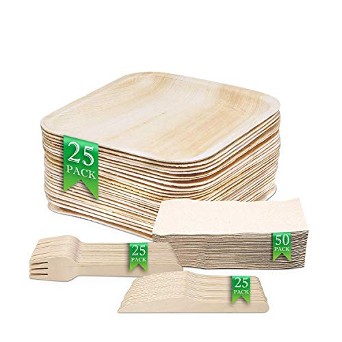 Kompostierbare Palmblatt-Teller - Biologisch abbaubare Pappteller-Alternative - 25x Einwegteller mit 25 cm Durchmesser, 25x Besteck – Nachhaltige Teller für Party, Grillen - PLUS 50 Servietten