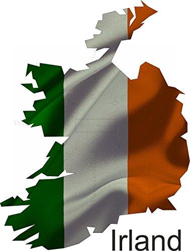 Sticker-Designs 10cm!Aufkleber-Folie Wetterfest Made IN Germany Irland UV&Waschanlagenfest Auto-Sticker Decal Staat Fahne Flagge Wappen Land FD62 Profi Qualität bunt farbig Digital-Schnitt!