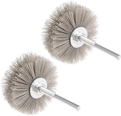 Chiloskit 2 ruedas de aleta abrasivo de nylon cepillo de rueda abrasivo cabeza de pulido con vástago roscado de 6 mm