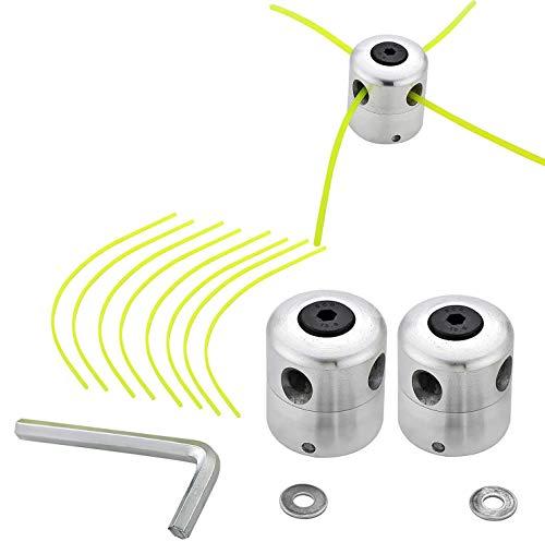 Aluminium Fadenkopf - WENTS Rasentrimmer Kopf Doppelfadenkopf Fadenspule Nylonfaden für Motorsense Rasentrimmer Freischneider (2 Pcs Fadenkopf+8 PCS Mählinie)