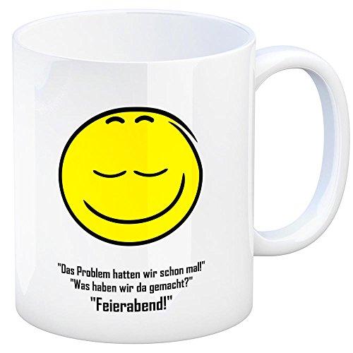 trendaffe - Kaffeebecher mit Spruch: Das Problem Hatten wir Schon mal! was haben wir da gemacht? Feierabend! Tasse Kaffeetasse Becher Mug Teetasse Büro Feierabend Büro Arbeit Witz lächelnd Grinsen