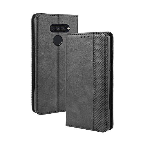 Dedux Flip Hülle kompatibel mit LG K50S, Retro Leder Brieftasche Abdeckung Magnetverschluss Folio Ständer Kartensteckplätze Handyhülle, Schwarz