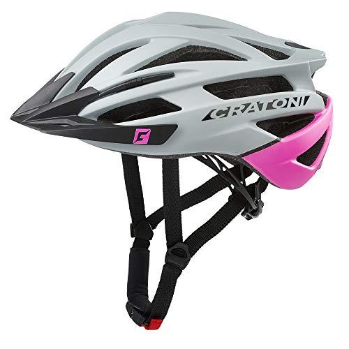 Cratoni Agravic - Casco para bicicleta de montaña con visera (54-58 cm), color gris y rosa