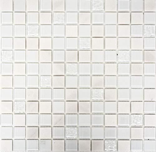 Mosaikfliese selbstklebend Transluzent Stein weiß Glasmosaik Crystal Stein weiß MOS200-4M332