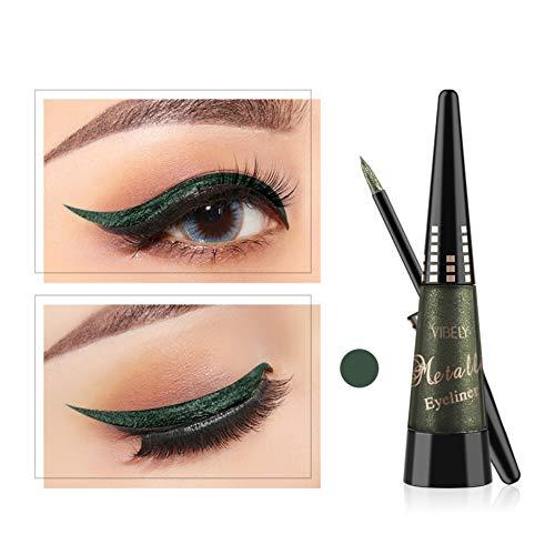 Glitter Augen Liner, ROMANTIC BEAR Glitzer Wasserfest Flüssig Lidschatten Stift Langlebig Schimmer Pigment Metallic Liquid Eyeliner (Grün)