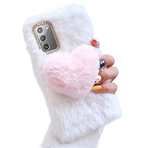 Jorisa Plüsch Liebe Herz Hülle Kompatibel mit iPhone 11 6.1 Zoll,Niedlich Kaninchen Pelz Weich Flauschige Winter Warm Handyhülle Süß Hasen Haar Glitzer Diamant Silikon Hülle,Weiß + Rosa