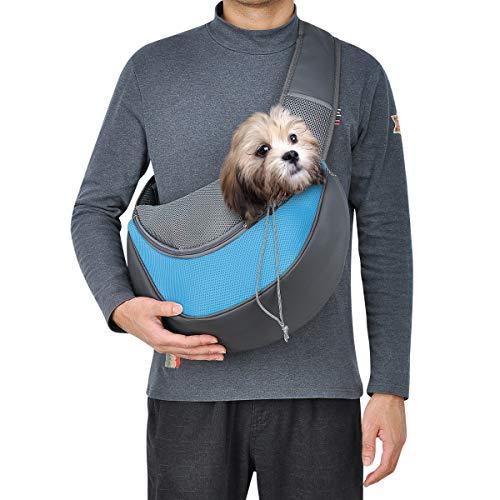 TOP STAR Kleine Haustier-Tragetasche, tragbar, sicher zu tragen, für atmungsaktives Netzgewebe, freihändig, Reisen, Outdoor, für Hunde und Katzen, groß, Himmelblau