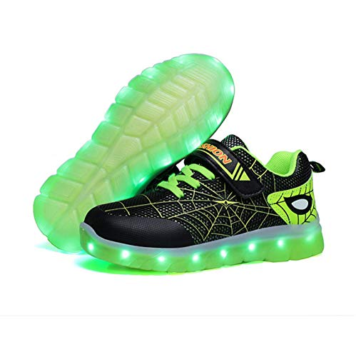 Kids LED Light Up Shoes Rechargeable Luminous Sneakers Trainers for Boys Girls New Spiderman...