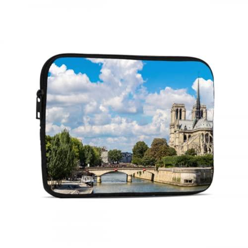 Estuche portátil para iPad Pro Hermoso Estuche para computadora portátil Notre Dame de Paris Compatible con iPad 7.9/9.7 Pulgadas Bolsa Protectora de Neopreno con Cremallera a Prueba de g