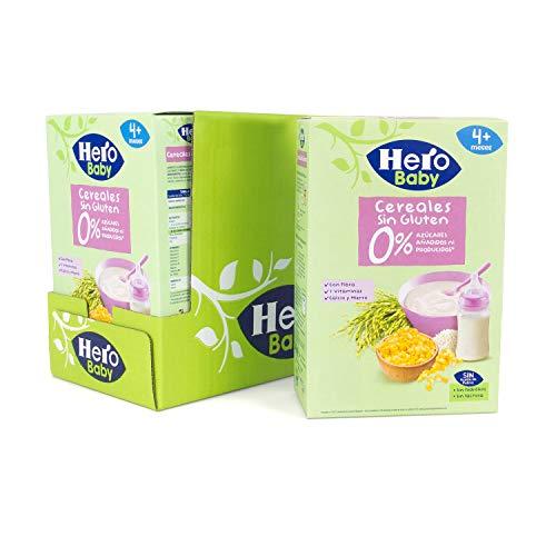 Hero Baby - Papilla de Cereales sin Gluten y sin Azúcares Añadidos, para Bebés a Partir de los 4 Meses - Pack de 6 x 340 g
