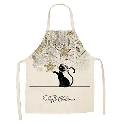 LIUKLAI 1 lindo delantal de cocina con patrón de gato para mujer, babero de lino de algodón, limpieza del hogar, delantal de cocina para el hogar-10_68x55cm