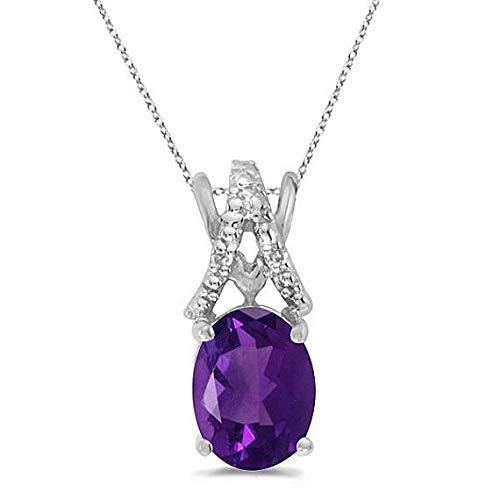 Amatista y diamante solitario colgante 14k oro blanco (1.20tcw), oro sólido collar de diamantes, día de San Valentín joyas de diamantes, regalo para ell