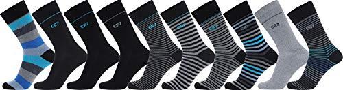 CR7 CRISTIANO RONALDO Socken für Herren, atmungsaktive Sneaker Socken, Sportsocken, weich, warm, aus Baumwolle, im 10er Pack , Blau, Streifen, Grau und Blautönen, 40-46