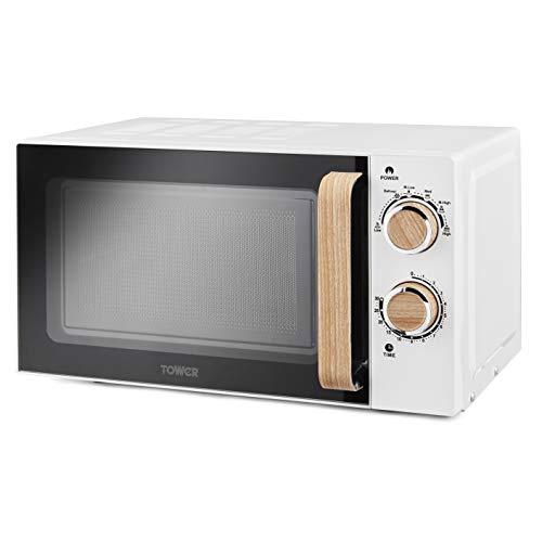 Tower T24027SBW Scandi Microwave, Manual Controls, Large 20 L Capacity and 6 Power Levels, 800 W, White