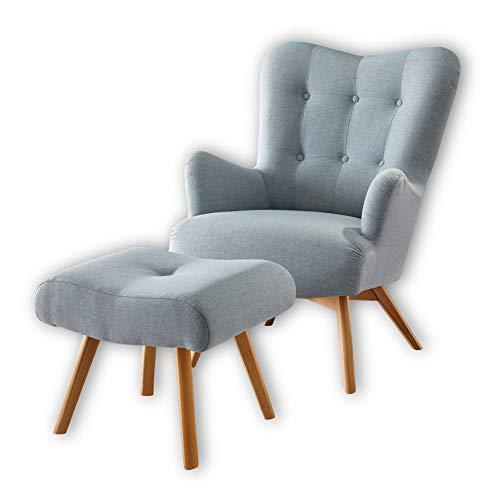 Stella Trading ARNDT Sessel mit Hocker und geknöpfter Polsterung, Aqua - Wohnzimmer Fernsehsessel mit Massivholz Füßen & Microvelours Bezug - 77 x 101 x 100 cm (B/H/T)