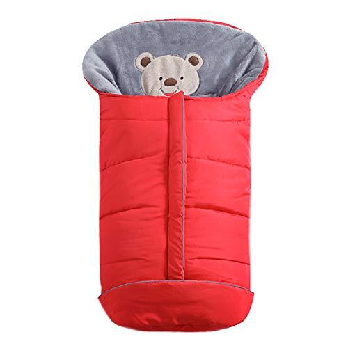 FREEDL Kinderwagen Schlafsack Winter Baby Fußsack Einschlagdecke, Babyschale Schlafsäcke Mit Reißverschluss Design, Schlafsack Babywagen Decke Für Kinderwagen Universal Fur 1-3 Jahre Alt 102cm Rot