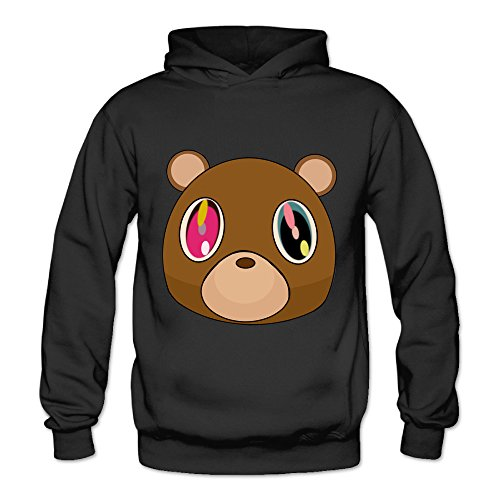 MSKOOK Women's Kanye West Bear Hooded Sweatshirt Black